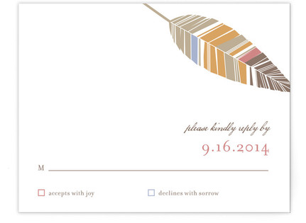 Spirit Feathers Print It Yourself Wedding RSVP Cards