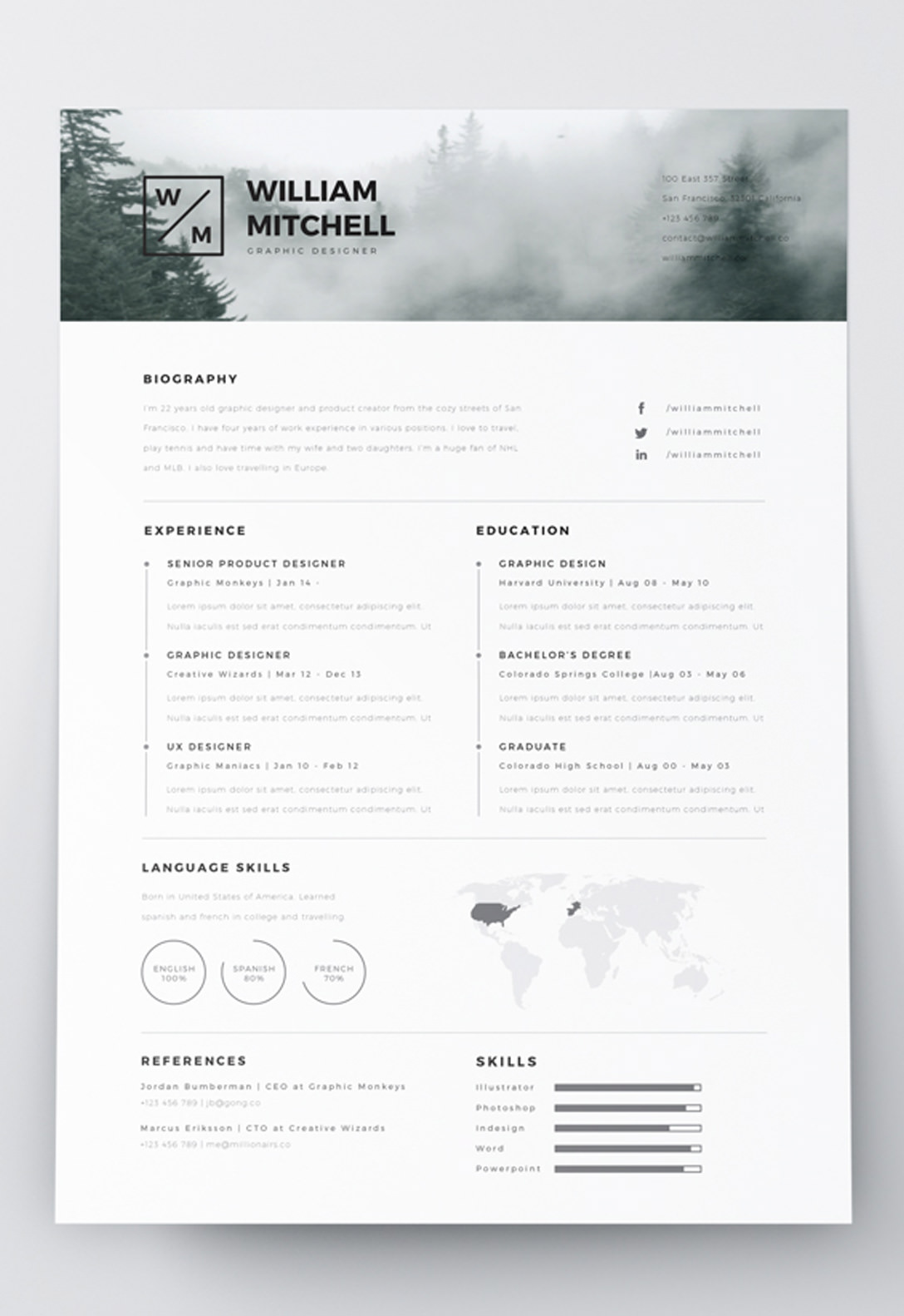 free photoshop cv templates