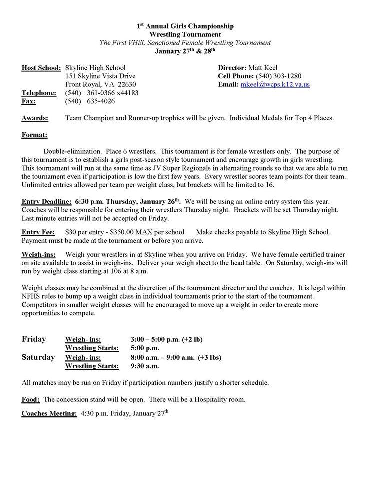 Girls Championship Wrestling Tourney- 1st VHSL Sanctioned Female - wrestling coach sample resume