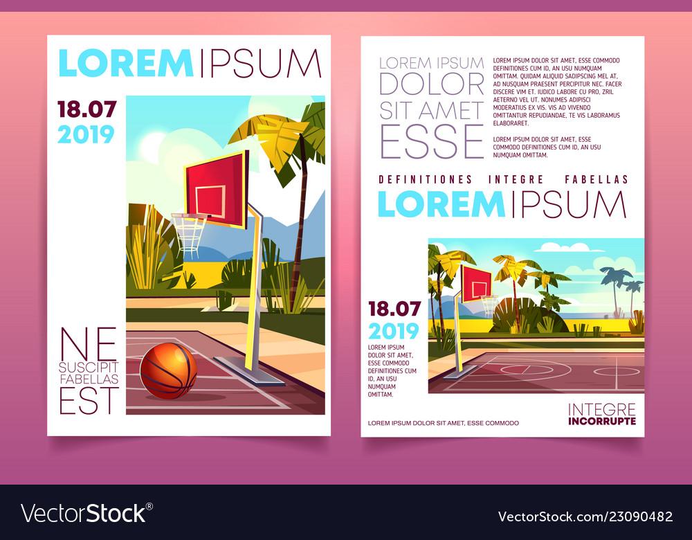 Basketball tournament on resort brochure Vector Image