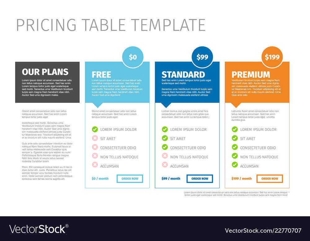 Minimalist pricing table template Royalty Free Vector Image