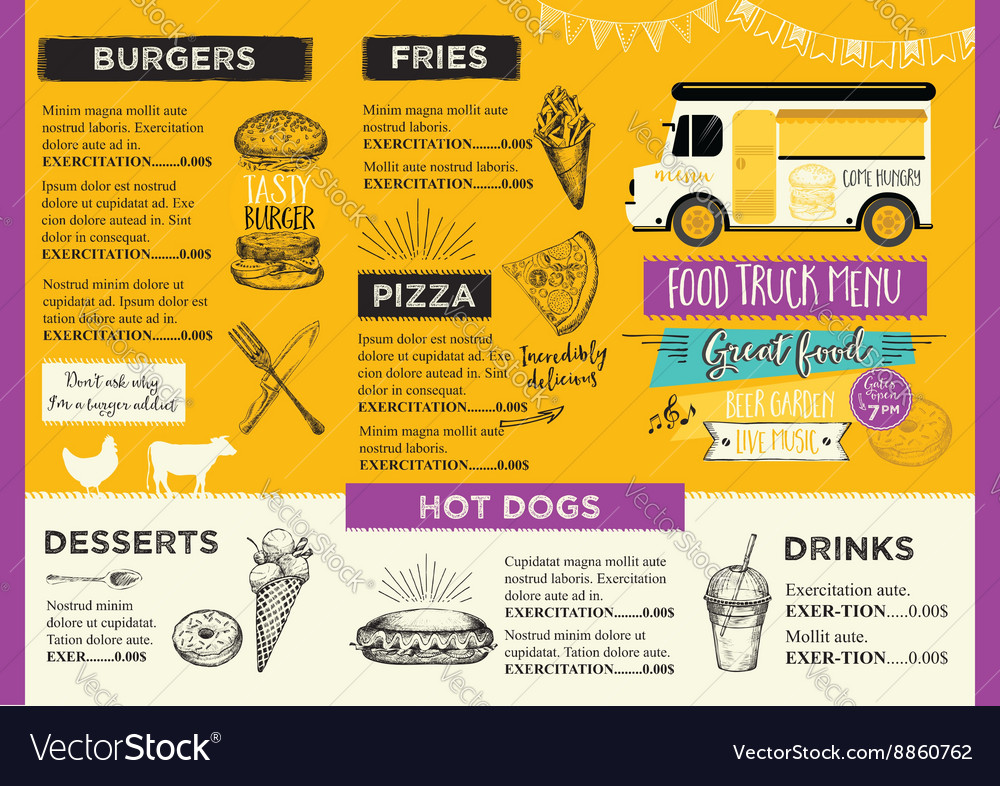 Food truck party invitation Food menu template Vector Image - food truck menu template