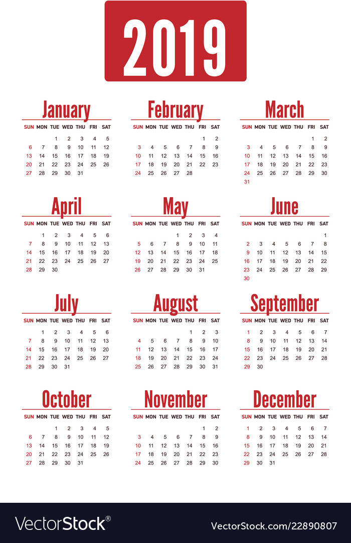 Simple vertical red calendar layout for 2019 years
