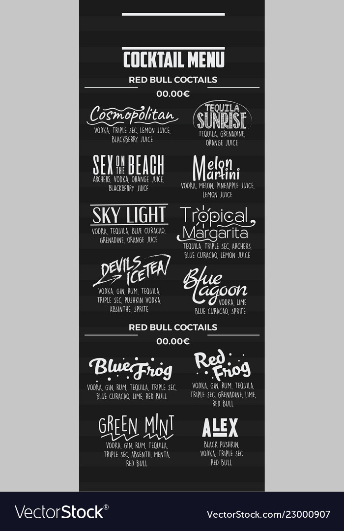 Cocktail menu template Royalty Free Vector Image