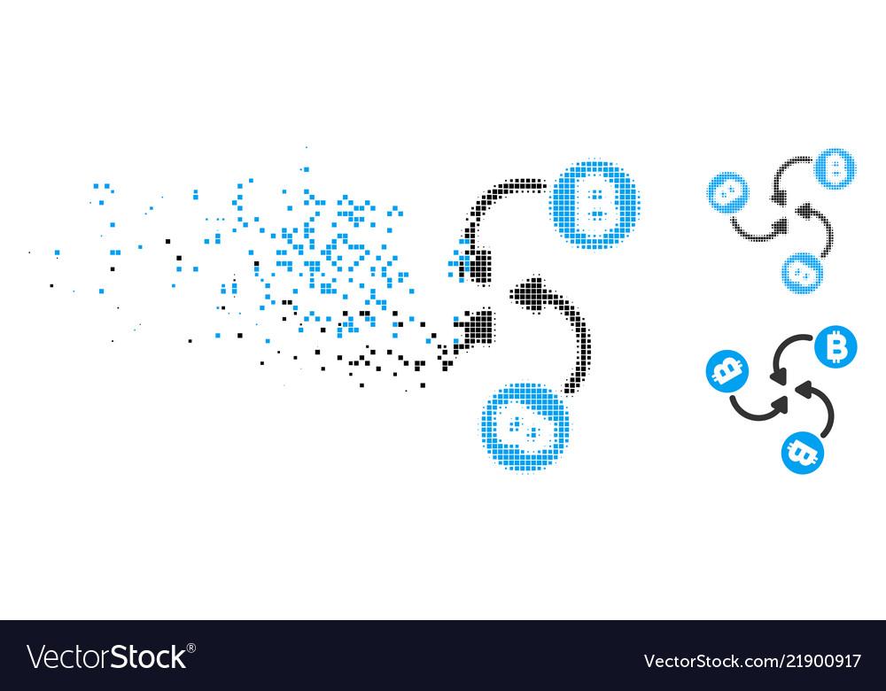 Disintegrating pixelated halftone bitcoin mixer Vector Image