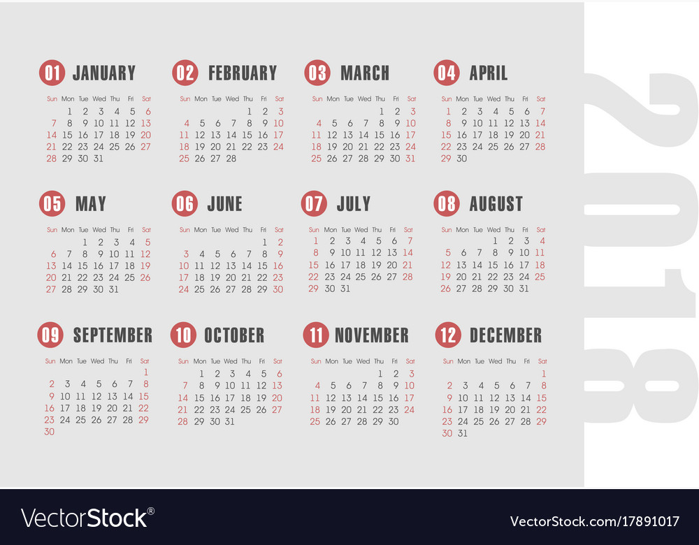 Simple 2018 year calendar Royalty Free Vector Image