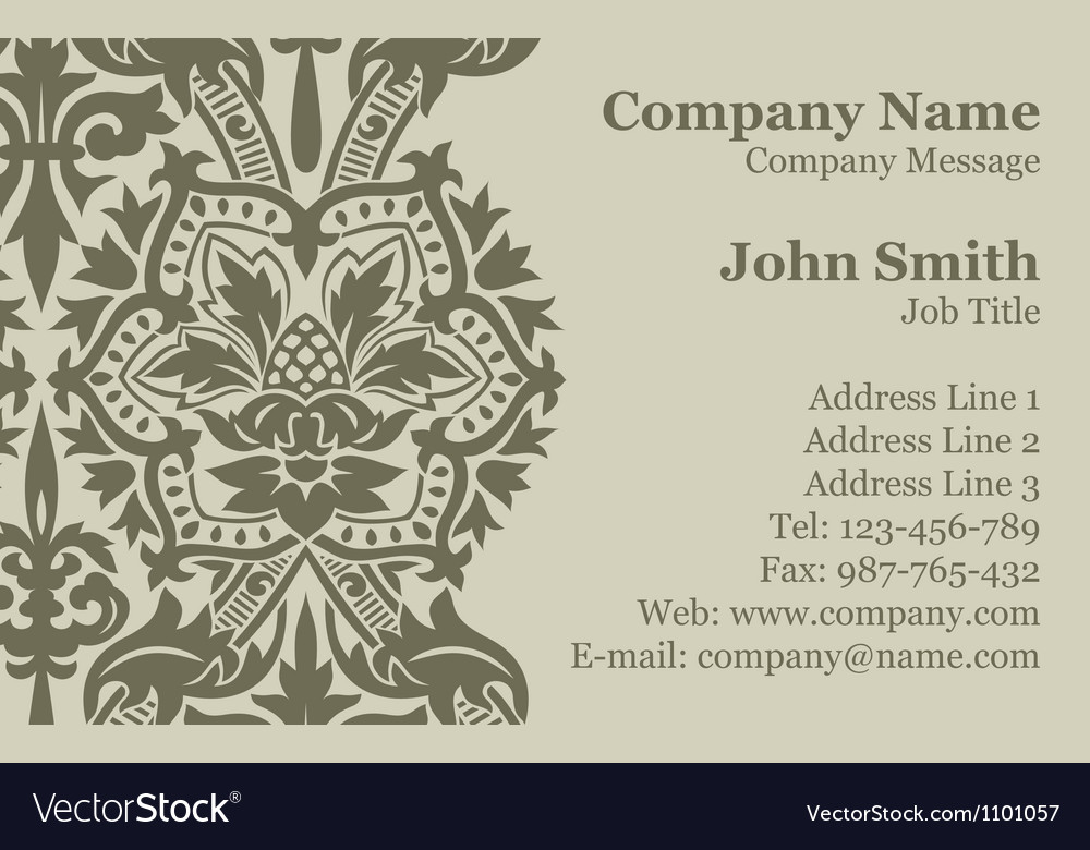 Victorian Damask Business Card Royalty Free Vector Image
