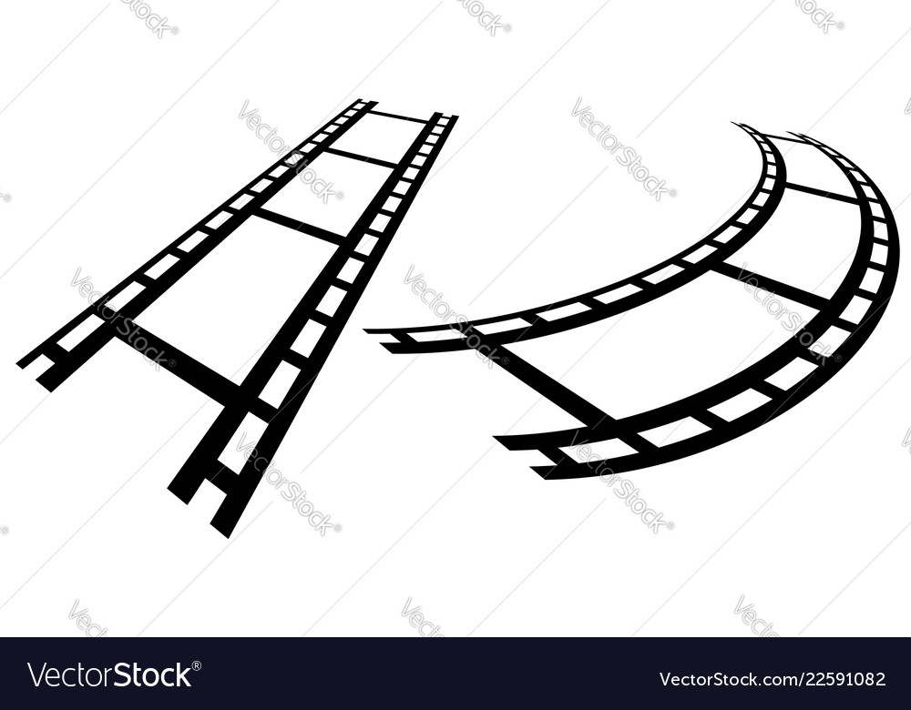 Film strips in perspective straight and distorted Vector Image