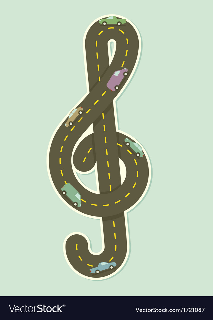 Paper road in the shape of treble clef Royalty Free Vector