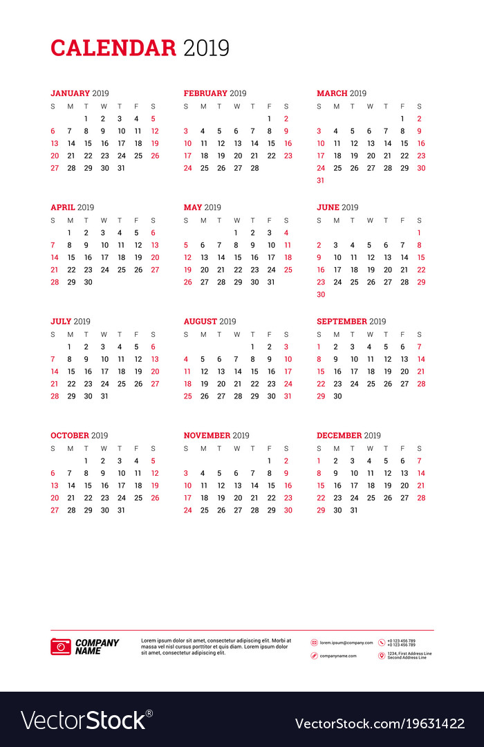 Calendar poster tabloid size for 2019 year week Vector Image
