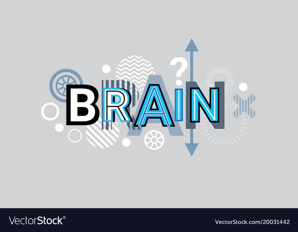 Brain thinking creative word over abstract Vector Image
