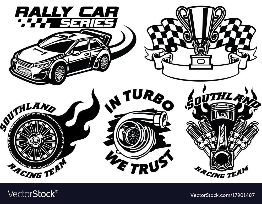 Racing badge design set Royalty Free Vector Image