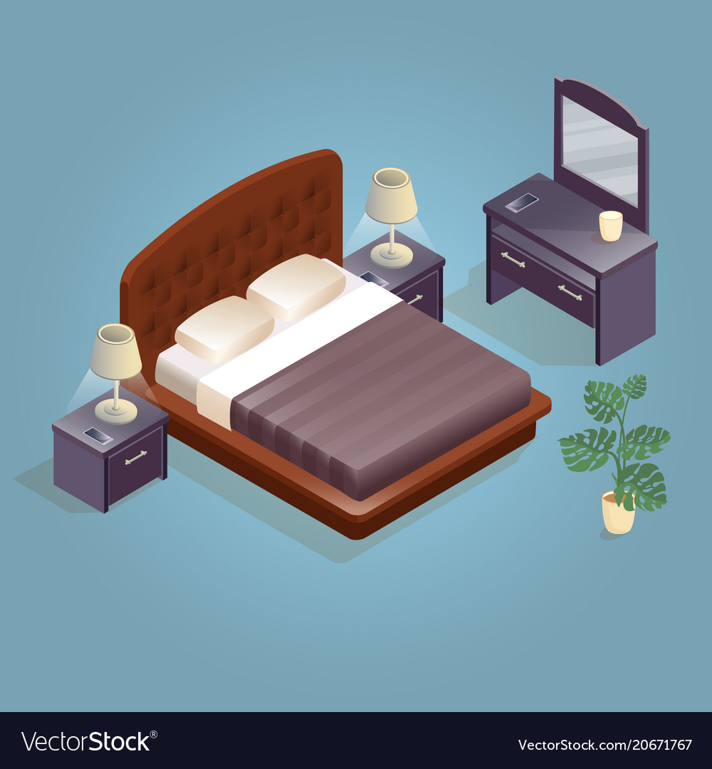 Double Size Bed Isometric Cartoon Double King Size Beds Isolated Vector Image