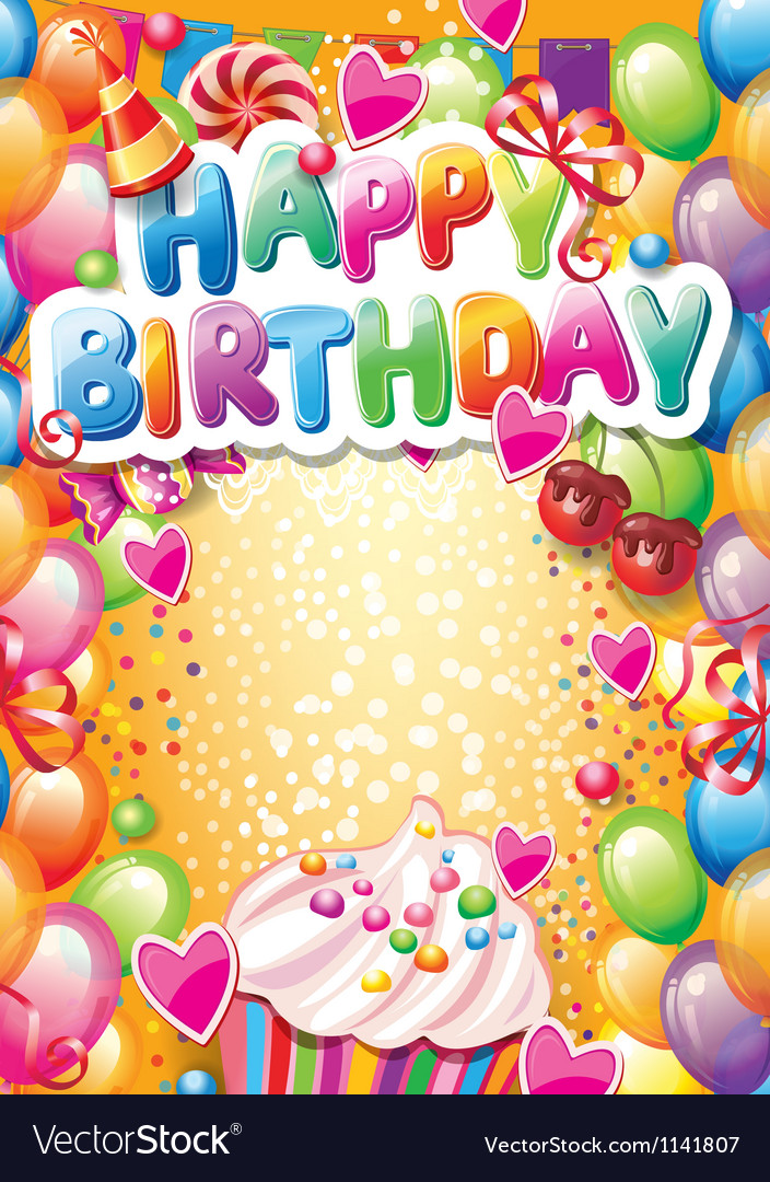 Template for Happy birthday card with place for Vector Image - template for a birthday card