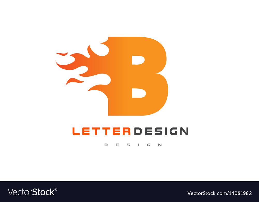 B letter flame logo design fire logo lettering Vector Image - flame logo