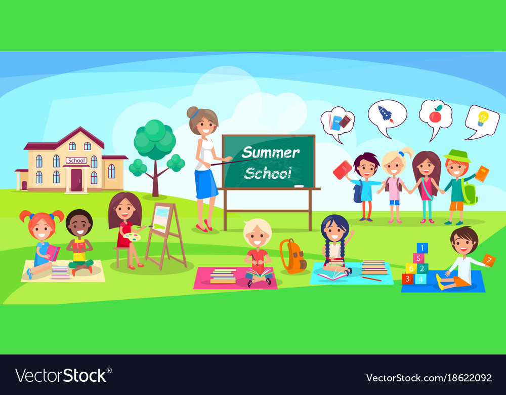 Summer school poster depicing kids and teacher Vector Image