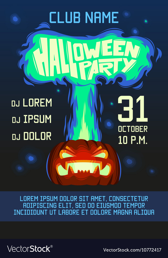 Halloween party invitation Royalty Free Vector Image