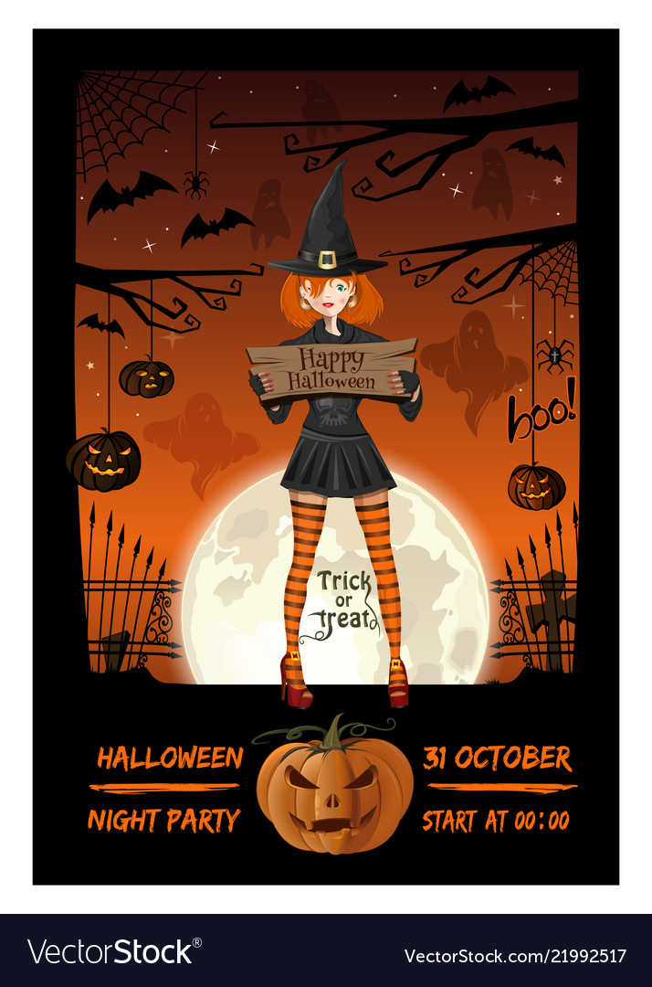Girl in a witch suit invites to a halloween party Vector Image