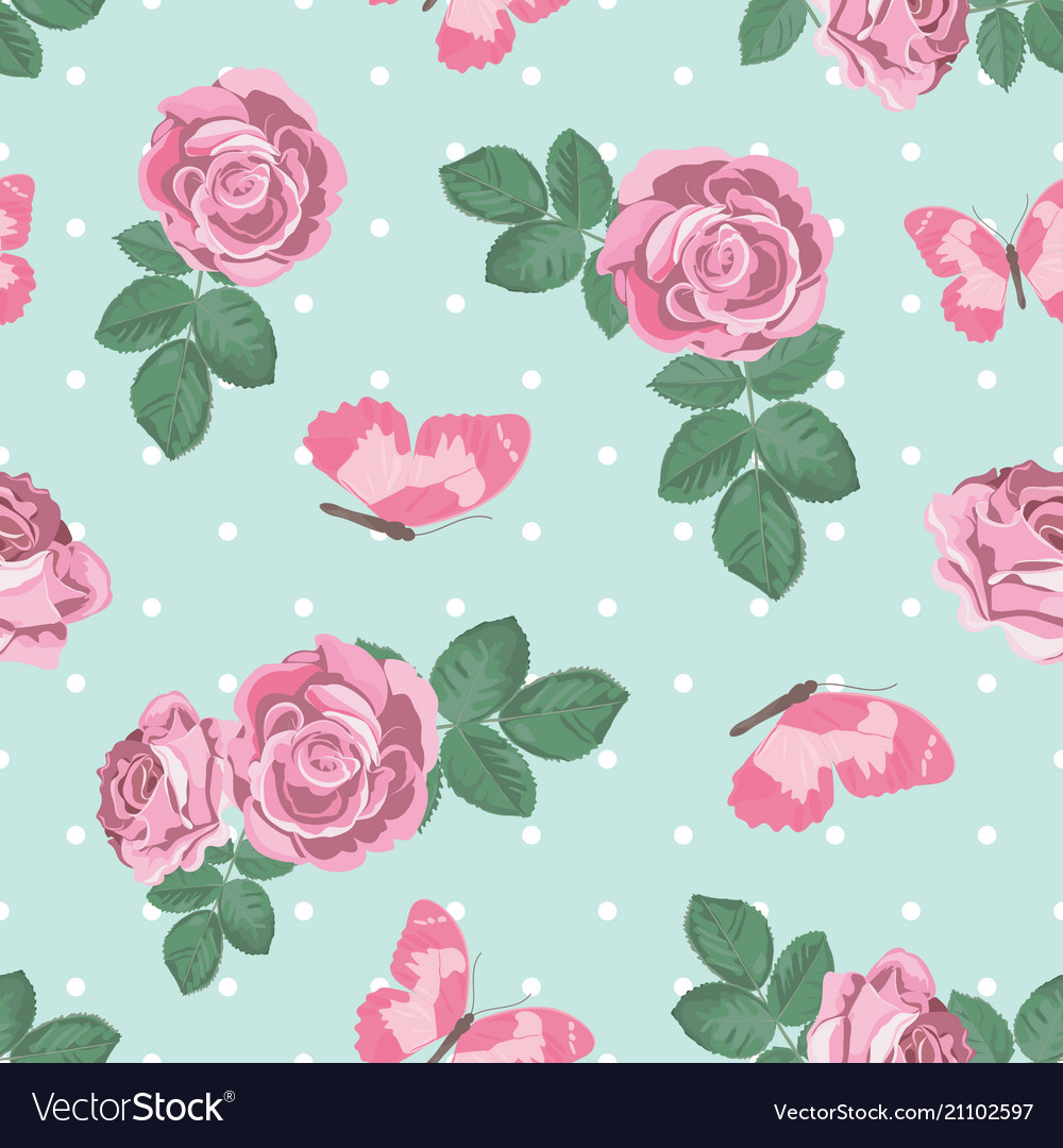 Shabby Chic Shabby Chic Roses And Butterflies Seamless Pattern