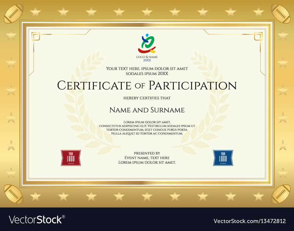 Sport theme certificate of participation template Vector Image - certificate of participation template