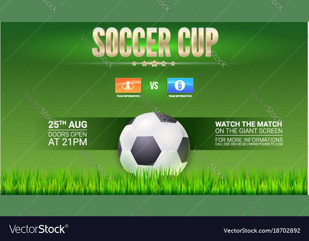 Soccer european football cup ad template with Vector Image