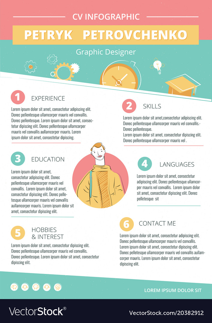 Cv creative infographic template Royalty Free Vector Image