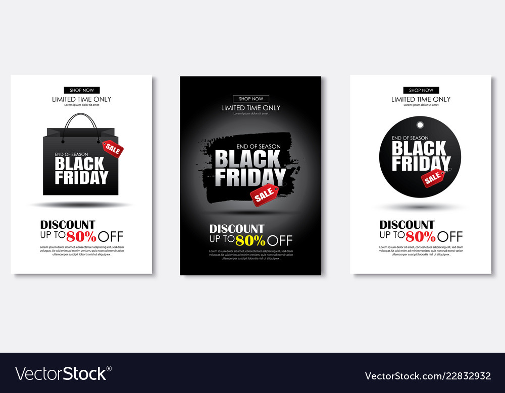 Set of black friday sale flyer template use for Vector Image