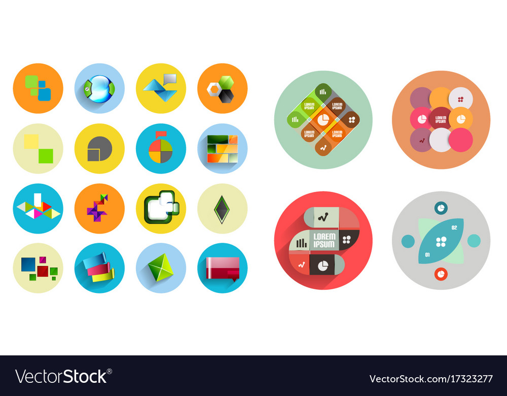 Round icons with geometric infographic templates Vector Image