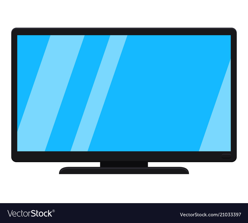 Modern Tv Cartoon Black Modern Tv Isolated On White