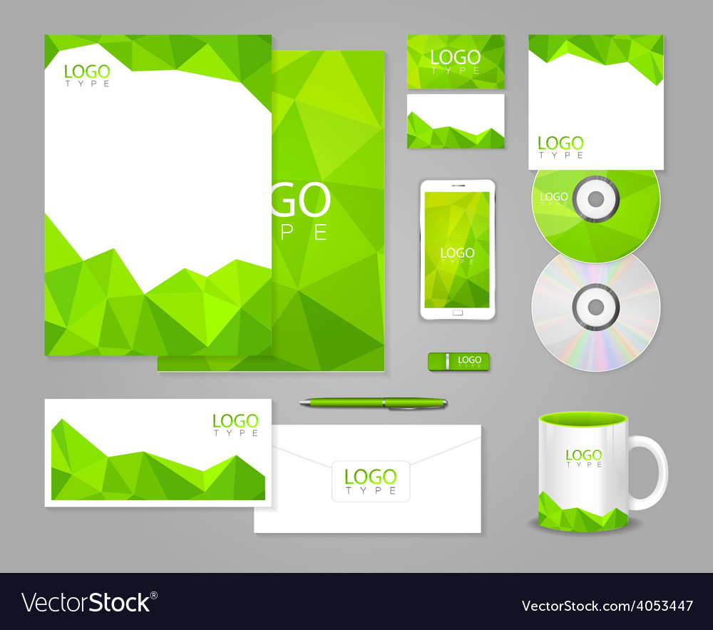 Corporate Graphic Design Green Corporate Identity Template With Polygons Vector Image On Vectorstock