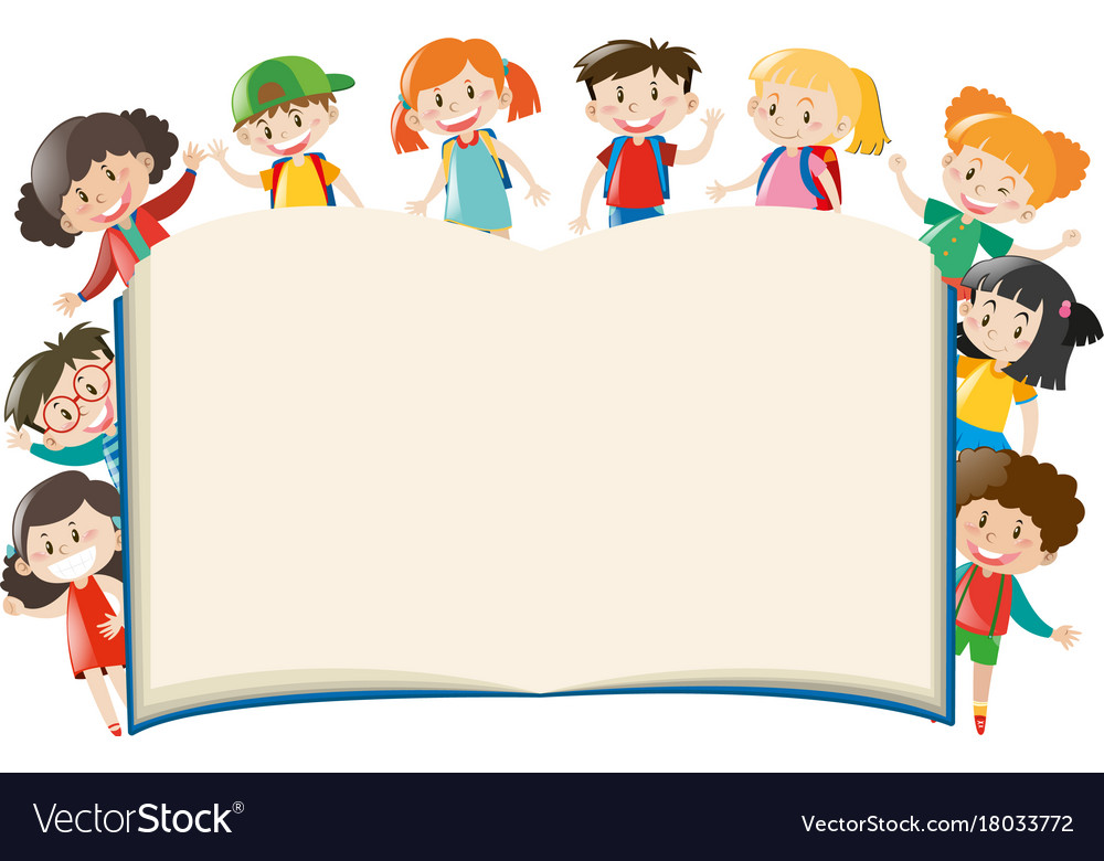 Background template with kids around book vector image on VectorStock