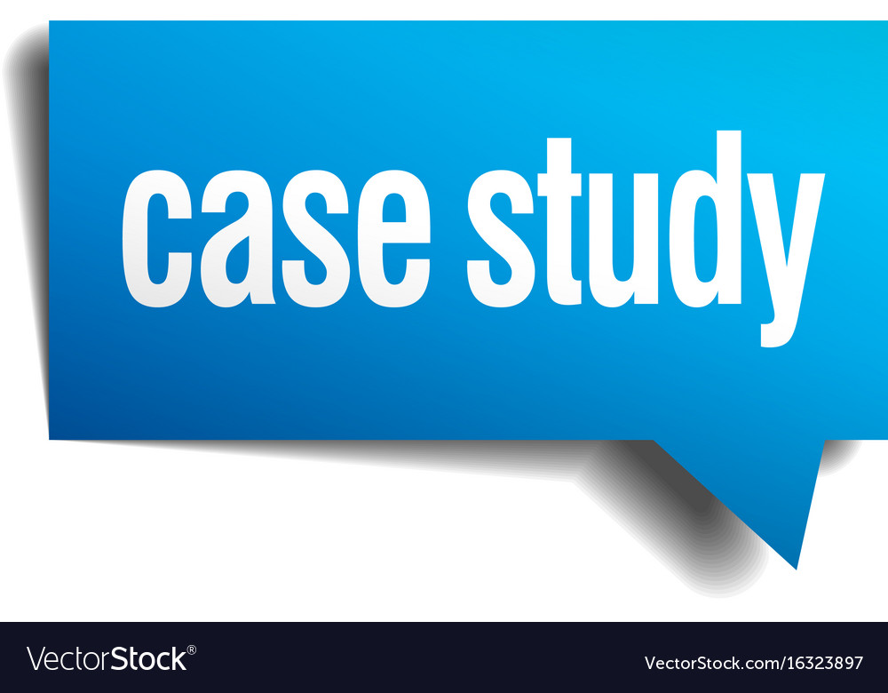 Case study blue 3d realistic paper speech bubble Vector Image