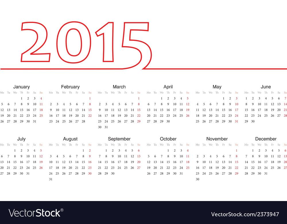 European 2015 year calendar Royalty Free Vector Image