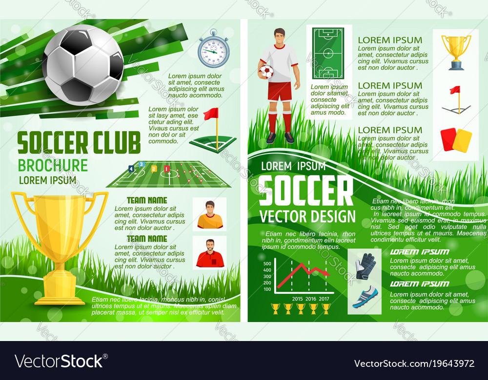 Brochure for soccer sport football game Royalty Free Vector