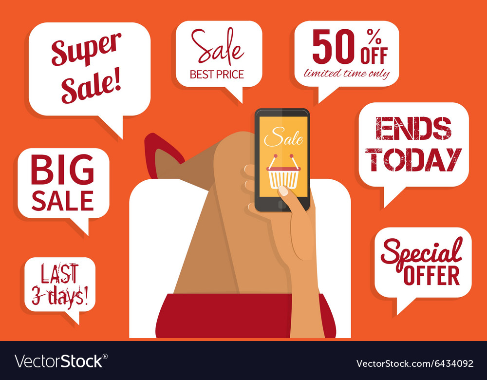 Shopping addiction Sale signs Flat Royalty Free Vector Image - sale signs