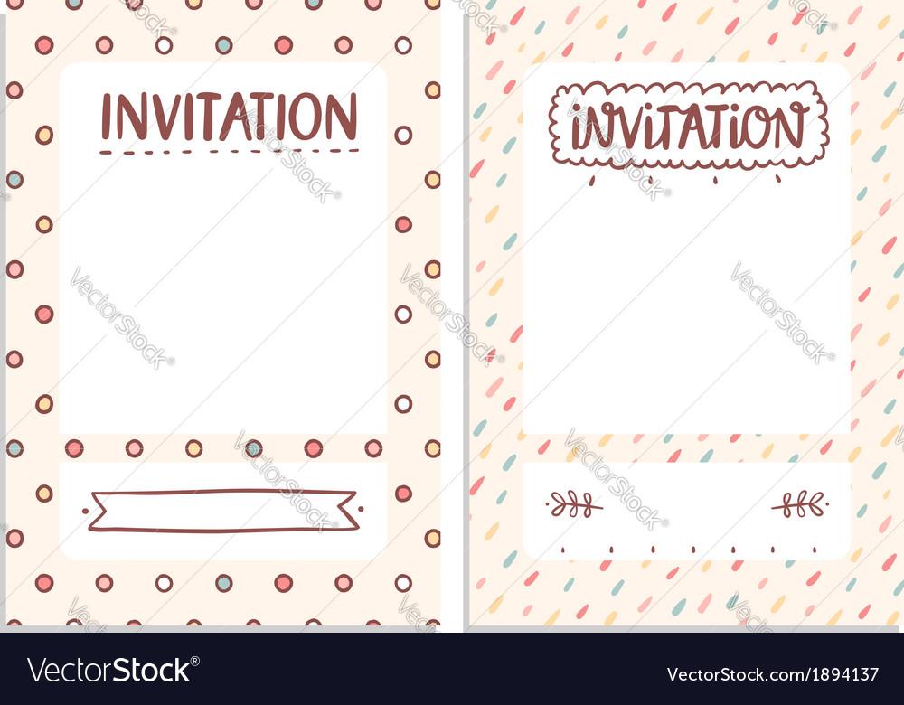 Invitations templates Royalty Free Vector Image