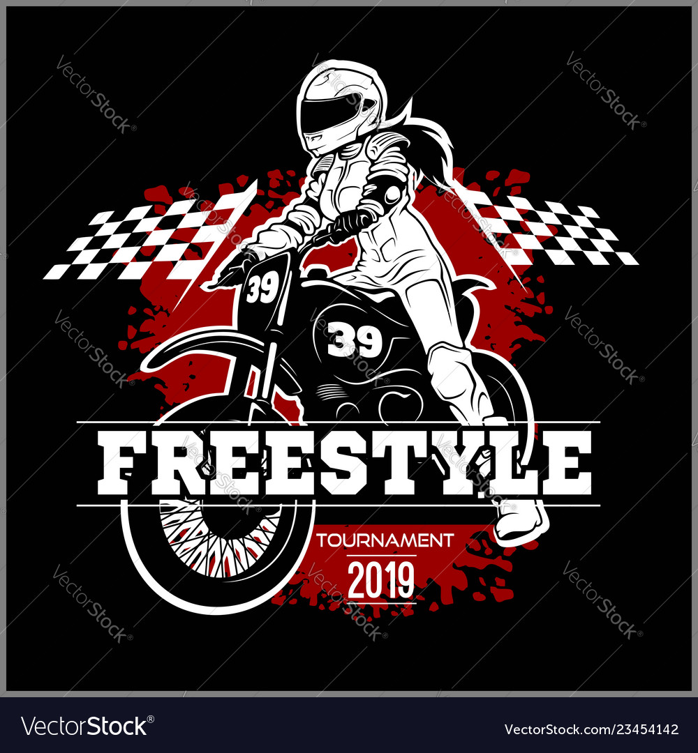 Motorcycle Racing Logo Design Female Motocross Design On Vector Image