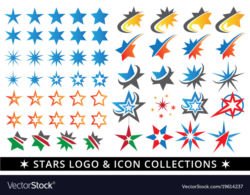 Stars logo button and icon template package Vector Image - stars template