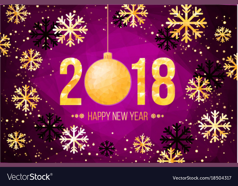 2018 happy new year card golden numbers Royalty Free Vector