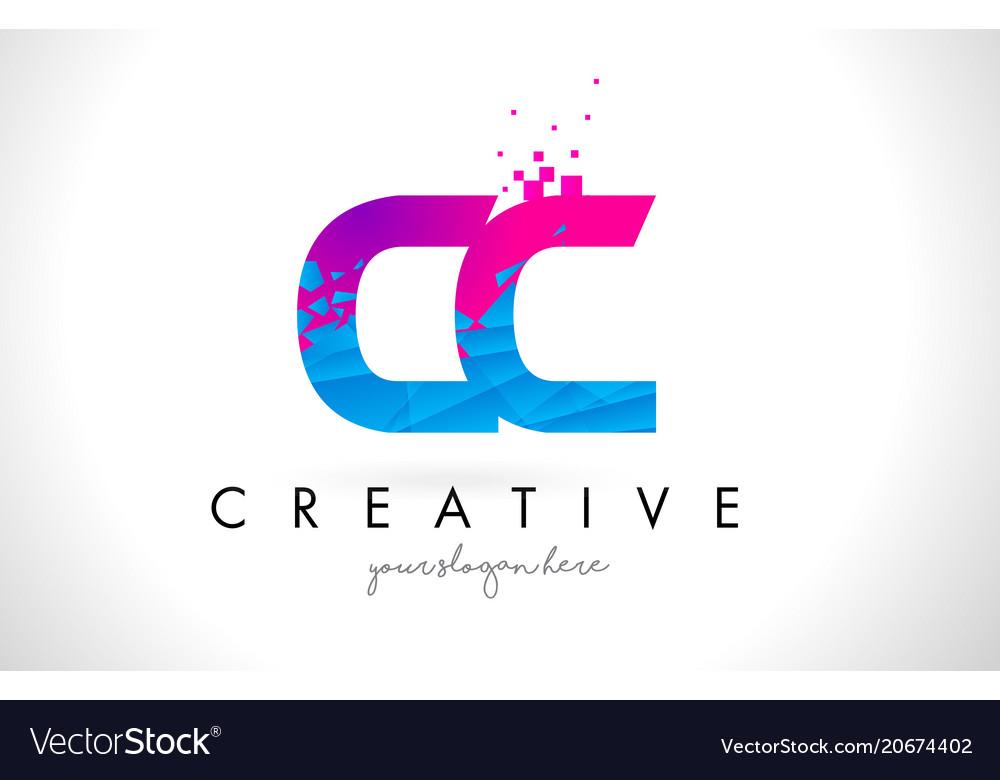 Cc c c letter logo with shattered broken blue Vector Image