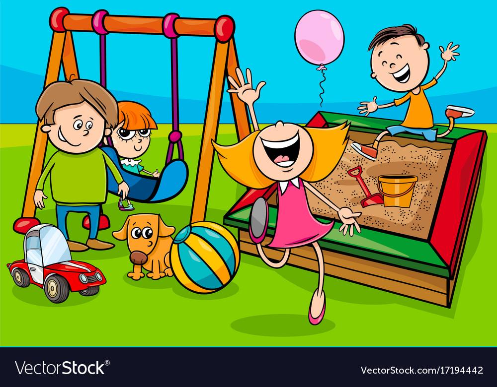 Cartoon children characters on playground Vector Image - cartoon children play