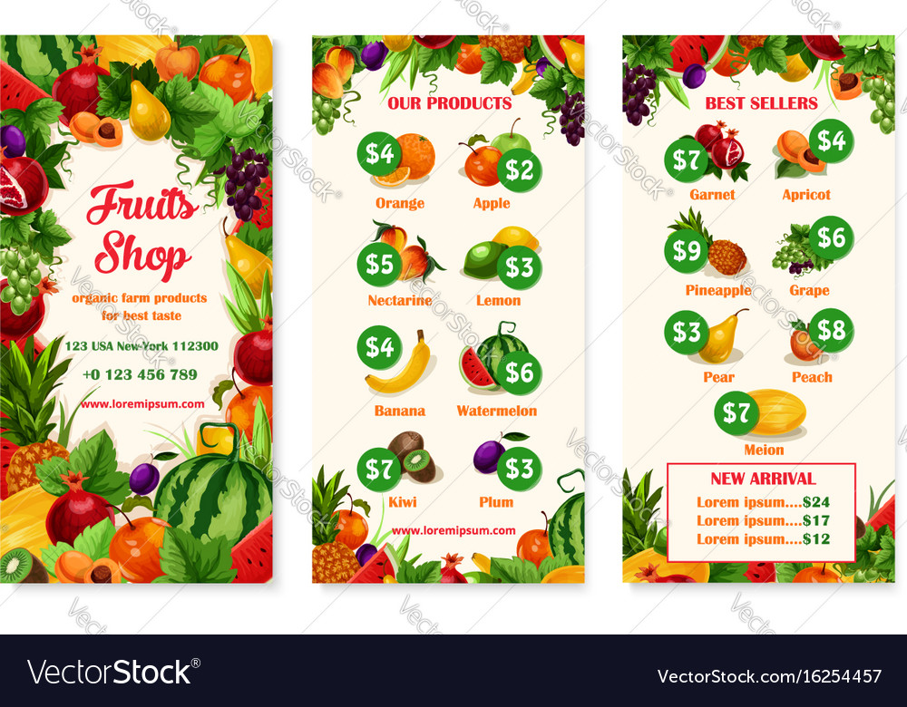 Menu price template of fruit shop or market Vector Image - market template