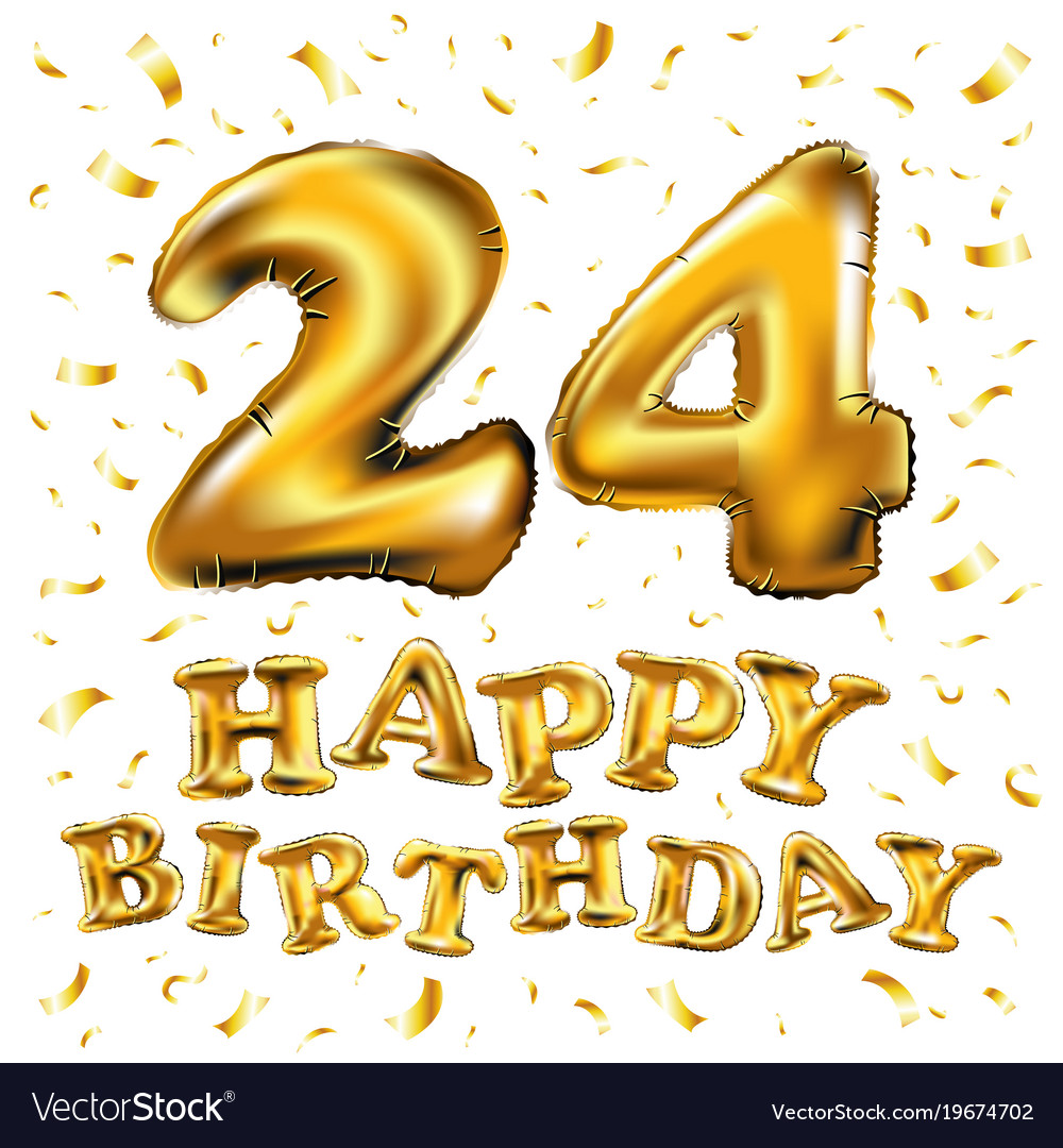 Happy Birthday 24 Years Anniversary Joy Royalty Free Vector