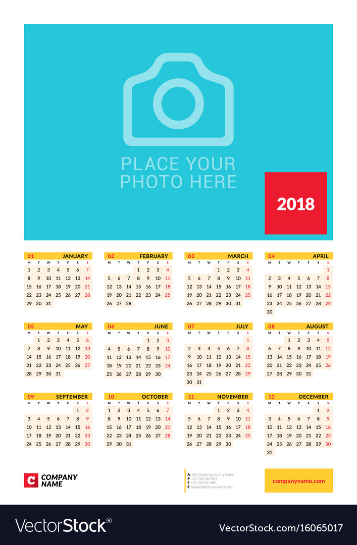 Wall yearly calendar poster for 2018 year design Vector Image - yearly calendar