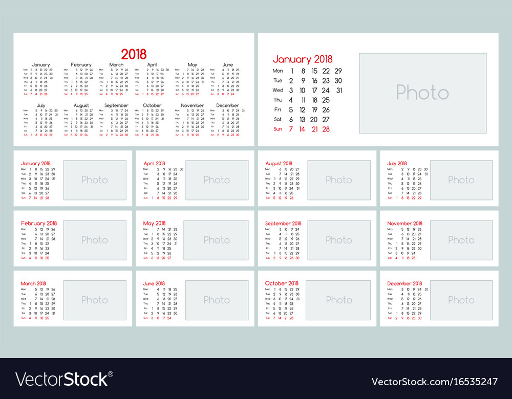 Calendar 2018 daily planner template Royalty Free Vector