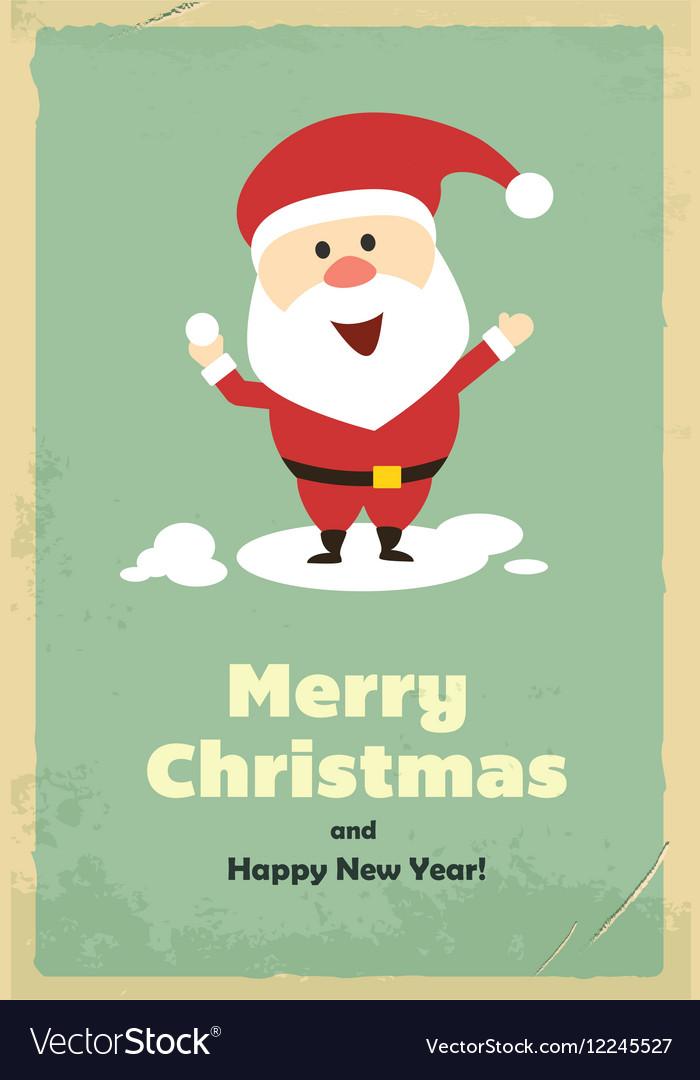 Vintage cute Santa Claus Royalty Free Vector Image