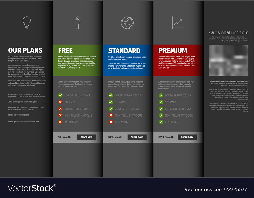 Product service pricing comparison table template Vector Image