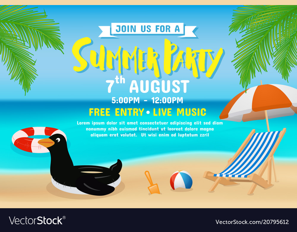 Summer party invitation flyer background template Vector Image