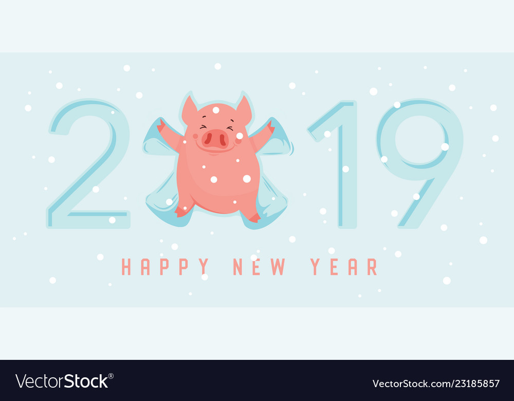 Cute winter pig make snow angel happy new year of Vector Image