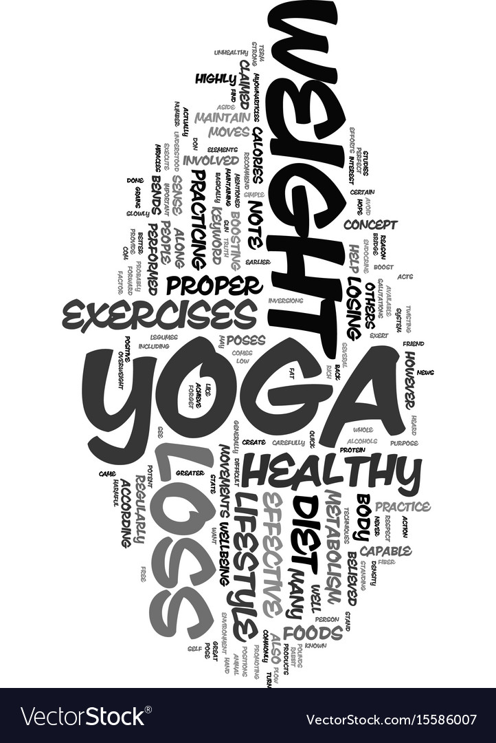 Yoga weight loss text word cloud concept Vector Image